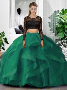 Fabulous Two Pieces Quinceanera Gowns Dark Green Scoop Tulle Long Sleeves Floor Length Backless
