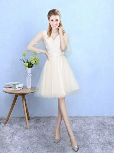 Decent Champagne Lace Up V-neck Lace Dama Dress Tulle Half Sleeves