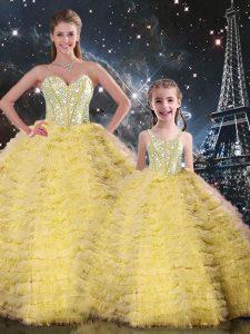 Yellow Lace Up 15th Birthday Dress Beading and Ruffles Sleeveless Floor Length