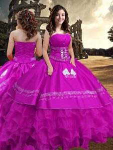 Attractive Floor Length Zipper Ball Gown Prom Dress Fuchsia for Military Ball and Sweet 16 and Quinceanera with Embroidery and Ruffled Layers
