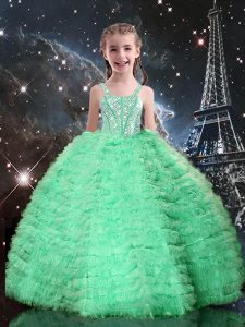 Custom Fit Apple Green Tulle Lace Up Straps Sleeveless Floor Length Child Pageant Dress Beading and Ruffled Layers
