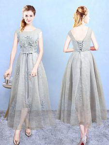 Deluxe Grey Lace Up Vestidos de Damas Appliques Sleeveless Ankle Length