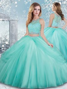 Deluxe Scoop Sleeveless Tulle Ball Gown Prom Dress Beading and Lace Clasp Handle