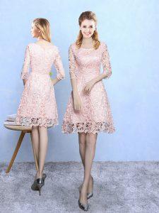 Hot Sale Baby Pink Scoop Neckline Lace Damas Dress Half Sleeves Zipper