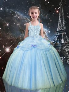 Light Blue Lace Up Straps Beading Little Girls Pageant Gowns Tulle Sleeveless