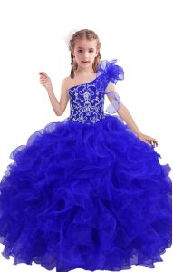 Latest Royal Blue Organza Lace Up One Shoulder Sleeveless Floor Length Child Pageant Dress Beading and Ruffles
