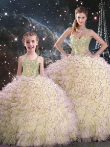 Light Yellow Sweetheart Lace Up Beading and Ruffles Sweet 16 Dresses Sleeveless