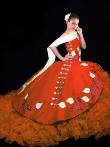 Ideal Sleeveless Embroidery and Ruffles Lace Up Ball Gown Prom Dress with Rust Red Brush Train