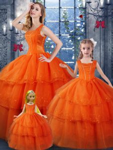 Orange Red Quinceanera Gown Military Ball and Sweet 16 and Quinceanera with Ruffled Layers Straps Sleeveless Lace Up