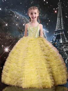 Champagne Sleeveless Tulle Lace Up Little Girls Pageant Gowns for Quinceanera and Wedding Party