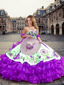 Hot Selling Eggplant Purple Ball Gowns Embroidery and Ruffled Layers Quinceanera Dress Lace Up Organza Sleeveless Floor Length