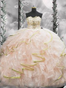Top Selling Peach Lace Up Quinceanera Dresses Beading and Ruffles Sleeveless Brush Train