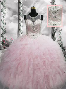 Hot Selling Tulle Sleeveless Floor Length Quinceanera Dresses and Beading and Ruffles