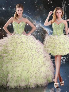 Yellow Green Sleeveless Organza Lace Up Quinceanera Gown for Military Ball and Sweet 16 and Quinceanera