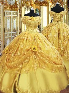 Gold Ball Gowns Beading and Appliques and Hand Made Flower Quinceanera Dresses Lace Up Tulle Sleeveless Floor Length