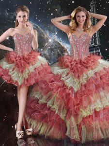 Organza Sleeveless Floor Length Quince Ball Gowns and Beading and Ruffled Layers