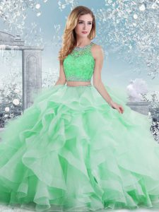 Custom Design Floor Length Clasp Handle Sweet 16 Dresses Apple Green for Military Ball and Sweet 16 and Quinceanera with Beading and Ruffles