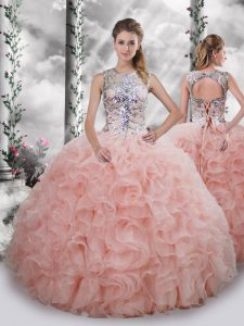 Smart Sleeveless Beading and Ruffles Lace Up Quinceanera Dress