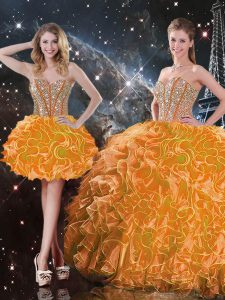 Orange Sleeveless Organza Lace Up Quince Ball Gowns for Military Ball and Sweet 16 and Quinceanera