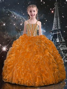 Floor Length Lace Up Little Girl Pageant Dress Orange Red for Quinceanera and Wedding Party with Beading and Ruffles