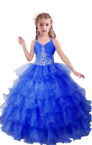 Attractive Sleeveless Floor Length Beading and Ruffled Layers Zipper Pageant Gowns For Girls with Blue