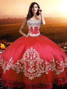 Fancy Ball Gowns Quinceanera Dress Coral Red Strapless Taffeta Sleeveless Floor Length Lace Up