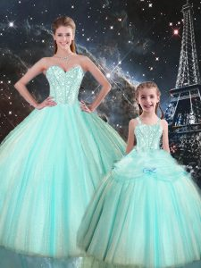 Classical Turquoise Sweetheart Lace Up Beading Sweet 16 Quinceanera Dress Sleeveless