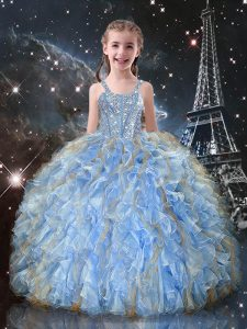 Adorable Light Blue Ball Gowns Organza Straps Sleeveless Beading and Ruffles Floor Length Lace Up Little Girls Pageant Dress