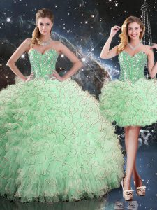 Inexpensive Apple Green Lace Up Sweetheart Beading and Ruffles Quinceanera Dresses Organza Sleeveless