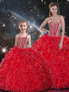 Top Selling Sweetheart Sleeveless Organza Quinceanera Gown Beading and Ruffles Lace Up