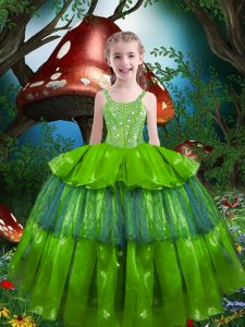 Organza Lace Up Little Girls Pageant Dress Sleeveless Floor Length Beading and Ruffled Layers
