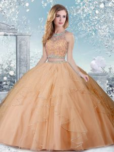 Ideal Champagne Ball Gowns Scoop Sleeveless Tulle Floor Length Clasp Handle Beading Quinceanera Gowns