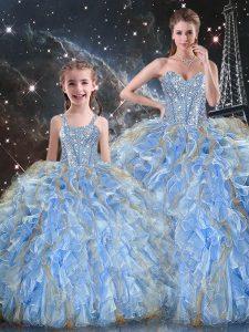 Light Blue Sweetheart Lace Up Beading and Ruffles Vestidos de Quinceanera Sleeveless