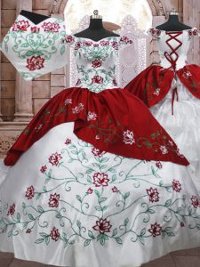 White And Red Ball Gowns Embroidery and Ruffled Layers Sweet 16 Dresses Lace Up Taffeta Sleeveless Floor Length