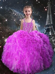 Sleeveless Floor Length Beading and Ruffles Lace Up Little Girls Pageant Dress Wholesale with Fuchsia