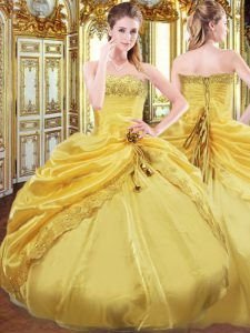 Custom Design Strapless Sleeveless Lace Up Quinceanera Dresses Gold Taffeta