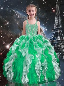 Low Price Floor Length Green Child Pageant Dress Organza Sleeveless Beading and Ruffles