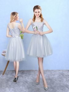 Dazzling Silver Lace Up Court Dresses for Sweet 16 Lace Sleeveless Knee Length