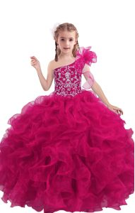 Gorgeous Fuchsia Girls Pageant Dresses Quinceanera and Wedding Party with Beading and Ruffles One Shoulder Sleeveless Lace Up