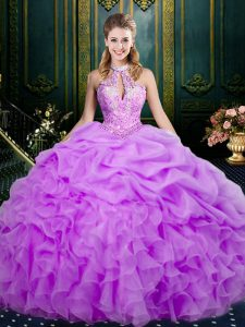 Ball Gowns Sweet 16 Dress Lilac Halter Top Organza Sleeveless Floor Length Lace Up