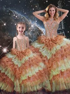 Hot Sale Multi-color Organza Lace Up Sweetheart Sleeveless Floor Length 15th Birthday Dress Beading and Ruffled Layers and Sequins