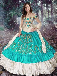 Fabulous Ball Gowns Quinceanera Gowns Blue And White Off The Shoulder Elastic Woven Satin Sleeveless Floor Length Lace Up