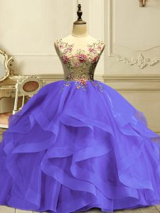 On Sale Sleeveless Lace Up Floor Length Appliques and Ruffles Ball Gown Prom Dress