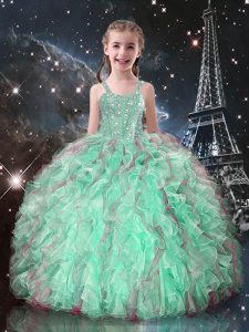 Eye-catching Floor Length Turquoise Little Girl Pageant Dress Organza Sleeveless Beading and Ruffles