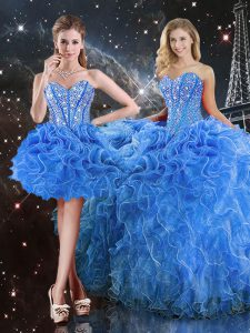 Organza Sweetheart Sleeveless Lace Up Beading and Ruffles Sweet 16 Quinceanera Dress in Baby Blue