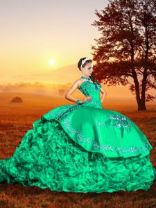 Dazzling Embroidery and Ruffles 15 Quinceanera Dress Turquoise Lace Up Sleeveless Brush Train