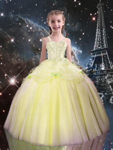 Low Price Light Yellow Ball Gowns Straps Sleeveless Tulle Floor Length Lace Up Beading Pageant Gowns For Girls