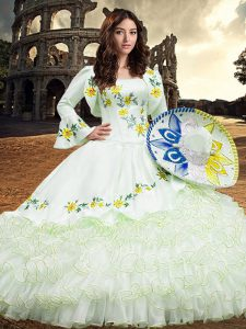 White Ball Gowns Organza Square Long Sleeves Embroidery and Ruffled Layers Floor Length Lace Up Sweet 16 Quinceanera Dress