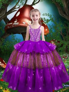 Eggplant Purple Sleeveless Floor Length Beading and Ruffled Layers Lace Up Little Girls Pageant Gowns