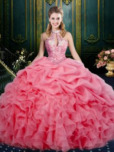 Exceptional Ball Gowns Ball Gown Prom Dress Watermelon Red Halter Top Organza Sleeveless Floor Length Lace Up